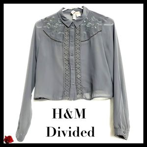H&M Divided:Size:6/Gray Sheer Embroider Blouse